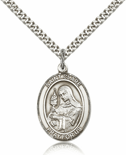 St Clare of Assisi Sterling-Filled Patron Saint Medal Necklace by Bliss Manufacturing