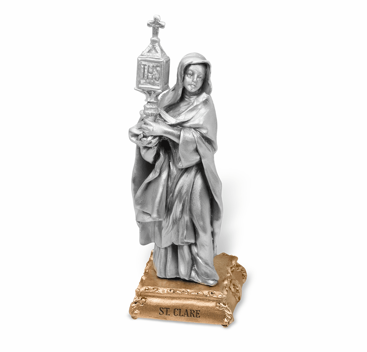 St Clare Patron Saint Pewter Statue on Gold Tone Base by Hirten