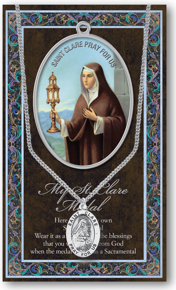 St Clare Pewter Patron Saint Medal Necklace with Prayer Pamphlet by Hirten