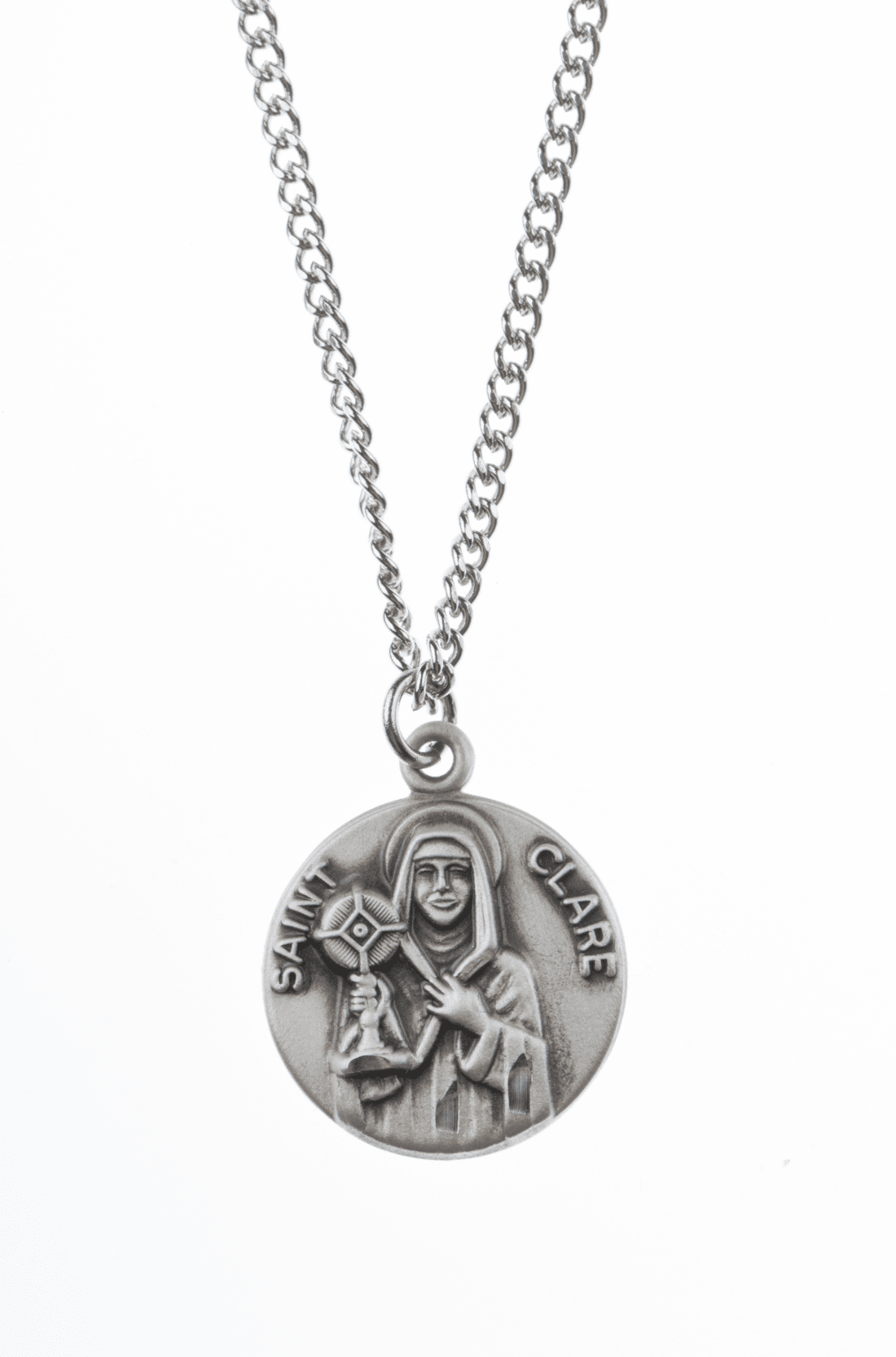 "St Clare Saint Medal Pendant w/18"" Chain by Jeweled Cross"