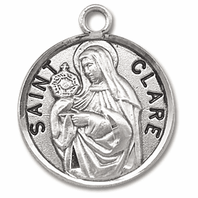 St Clare Sterling Silver Medal Necklace by HMH Religious
