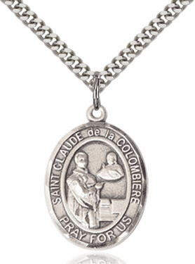 St Claude de la Colombiere Patron Saint of Toy Makers Sterling Silver Necklace by Bliss