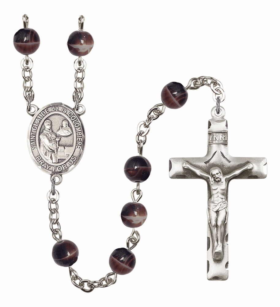 St Claude de la Colombiere 7mm Brown Gemstone Rosary by Bliss