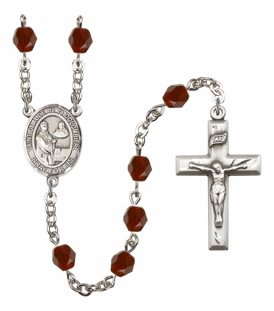 St Claude de la Colombiere Silver Plate Birthstone Crystal Prayer Rosary by Bliss