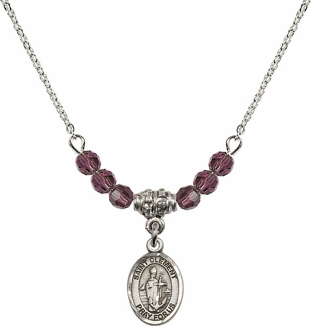 St Clement 4mm Swarovski Crystal February Amethyst Necklace by Bliss Mfg