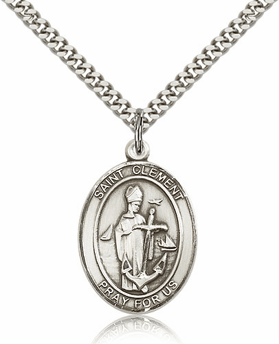 St Clement Patron Saint of Sailors Sterling-Filled Medal Necklace by Bliss Manufacturing