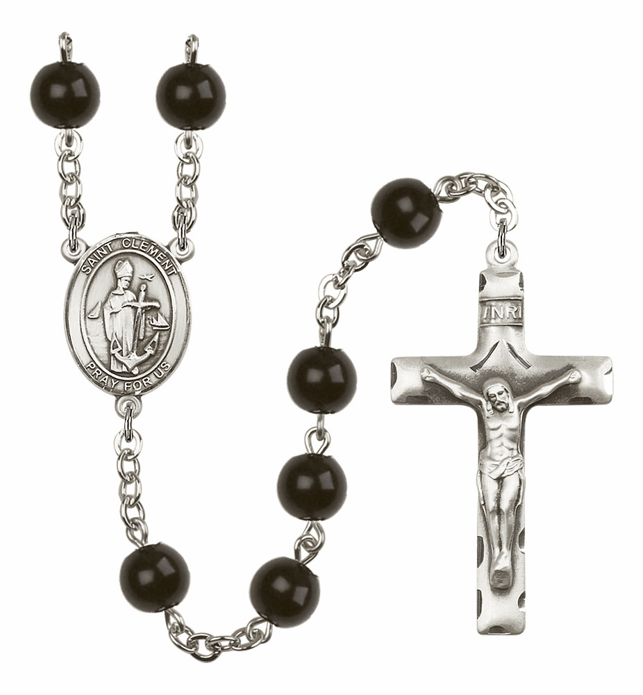 Bliss Mfg St Clement Silver 7mm Black Onyx Rosary