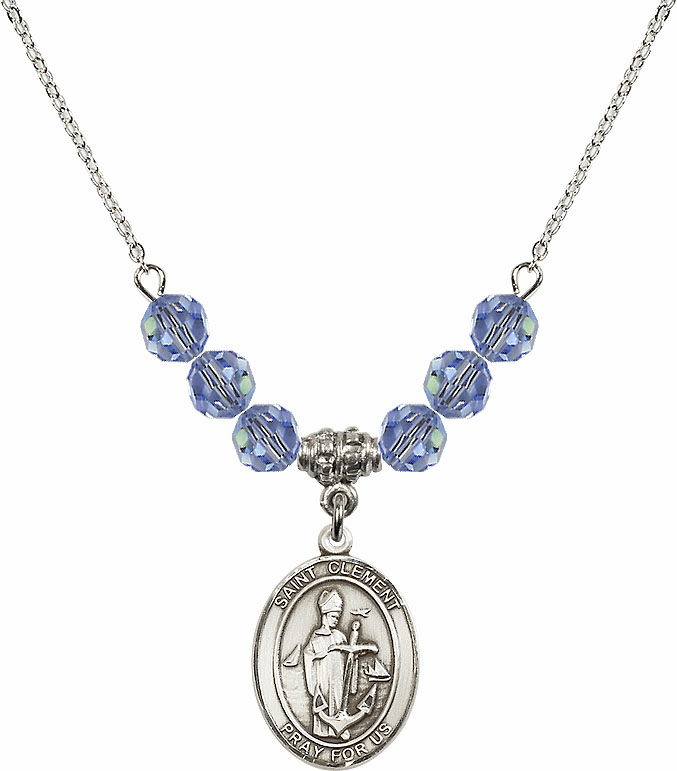 St Clement Swarovski Crystal Beaded Patron Saint Necklace by Bliss Mfg