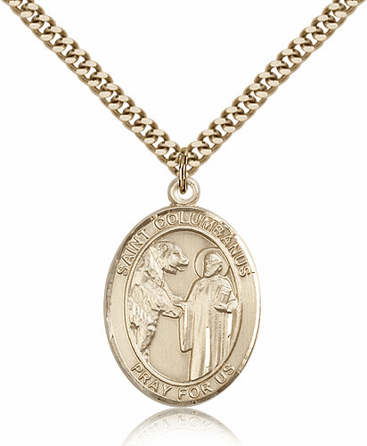 St Columbanus Gold Filled Saint Medal