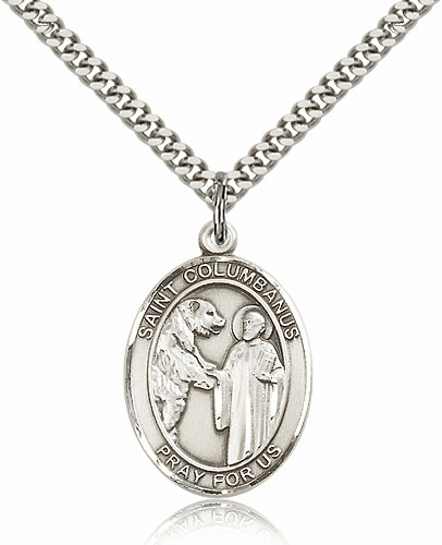 St Columbanus Sterling Silver Saint Medal  Necklace by Bliss