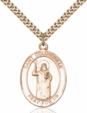 St Columbkille Patron Saint of Scotland 14kt Gold-Filled Necklace by Bliss Manufacturing