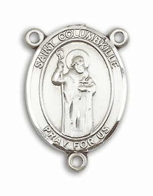 St Columbkille Patron Saint of Scotland Sterling Silver Rosary Center by Bliss