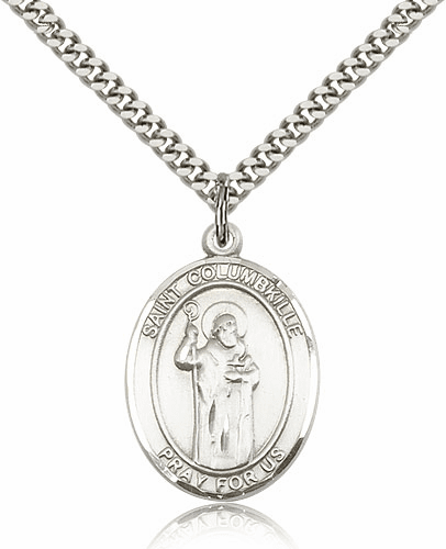 St Columbkille Patron Saint Sterling Silver Necklace by Bliss
