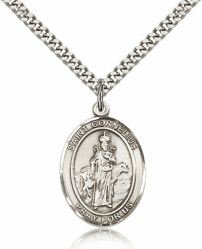 St Cornelius Sterling Silver Saint Medal  Necklace by Bliss