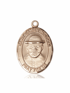 St Damien of Molokai Patron Saint 14kt and 18kt Gold Medal Pendant by Bliss