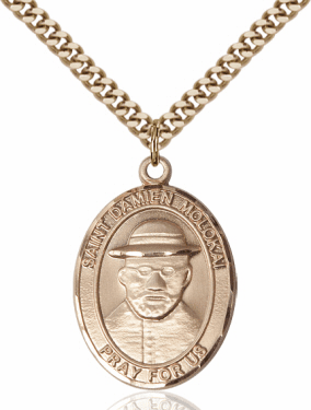St Damien of Molokai Patron Saint 14kt Gold-Filled Medal Necklace by Bliss