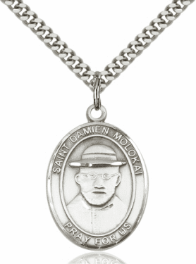 St Damien of Molokai Patron Saint Sterling Silver Necklace by Bliss