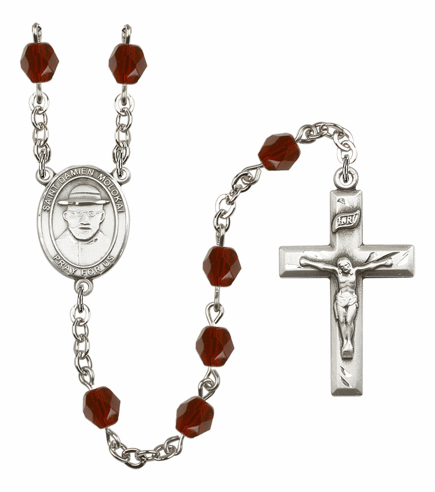 St Damien of Molokai Silver Plate Birthstone Crystal Prayer Rosary by Bliss