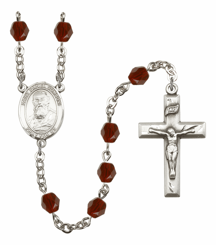 St Daniel Comboni Silver Plate Birthstone Crystal Prayer Rosary by Bliss