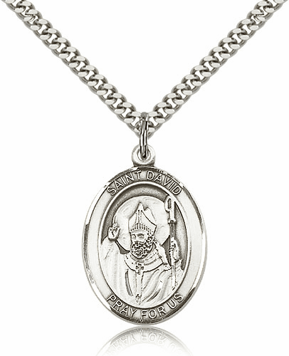 St David of Wales Sterling Silver Saint Medal Necklace by Bliss