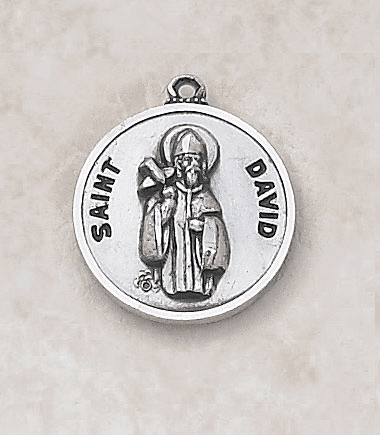 St David Sterling Patron Saint Medal w/Chain by Creed Jewelry
