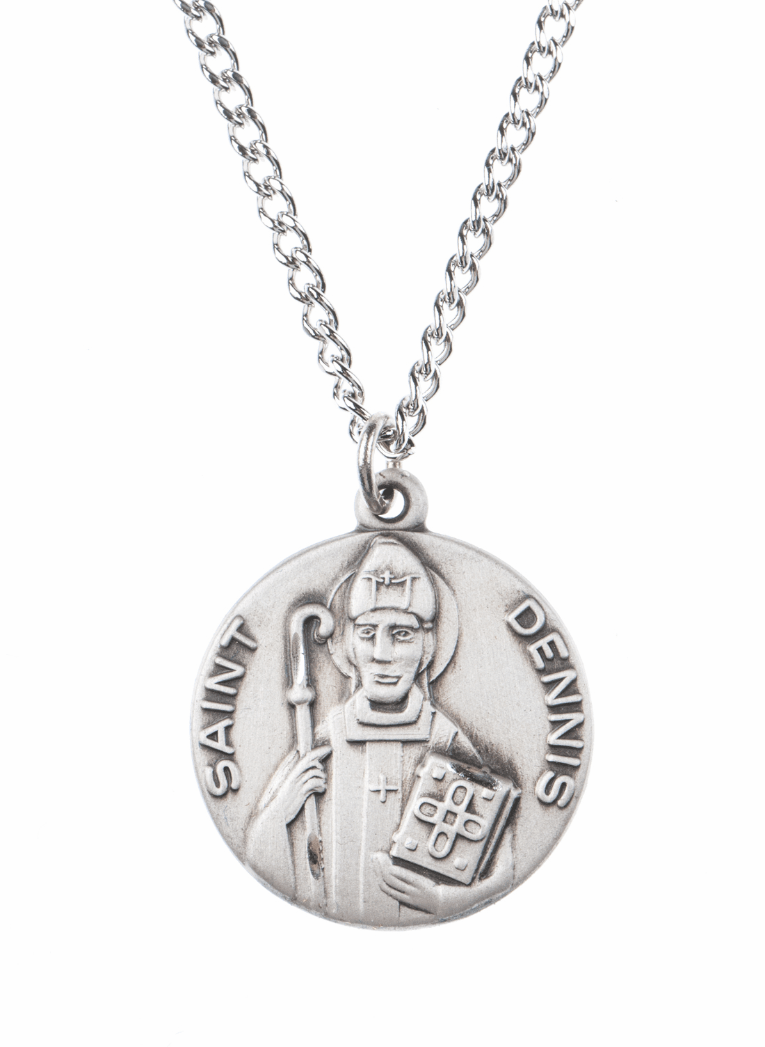"""St Dennis Saint Medal Pendant w/18"""" Chain by Jeweled Cross"""