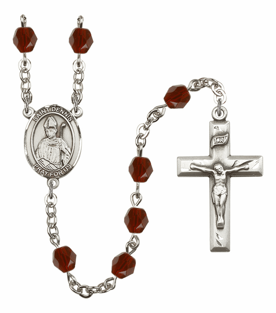St Dennis Silver Plate Birthstone Crystal Prayer Rosary by Bliss