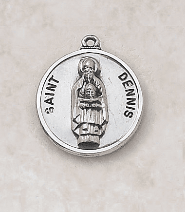St Dennis Sterling Patron Saint Medal w/Chain by Creed Jewelry
