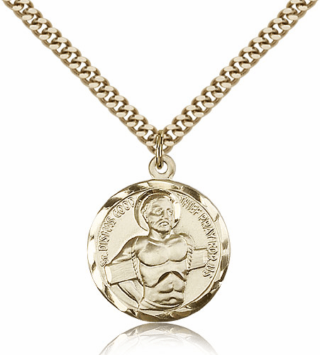 St Dismas Good Thief Patron Saint 14kt Gold-filled Medal Necklace with Chain by Bliss