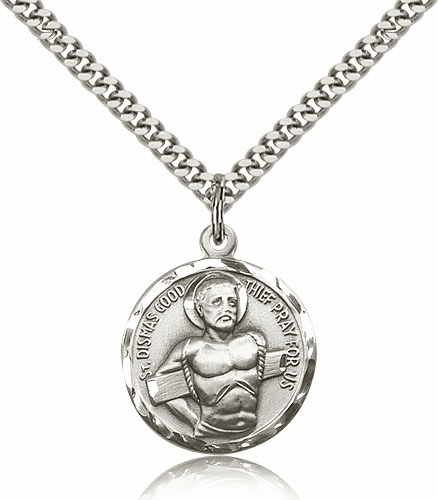 St Dismas Good Thief Patron Saint Sterling Silver Medal Necklace with Chain by Bliss