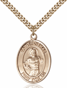 St Dismas Patron Saint of Prisoners 14kt Gold-Filled Medal Necklace by Bliss