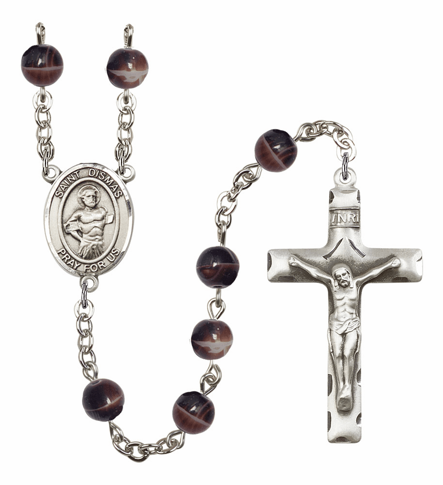 St Dismas 7mm Brown Gemstone Rosary by Bliss