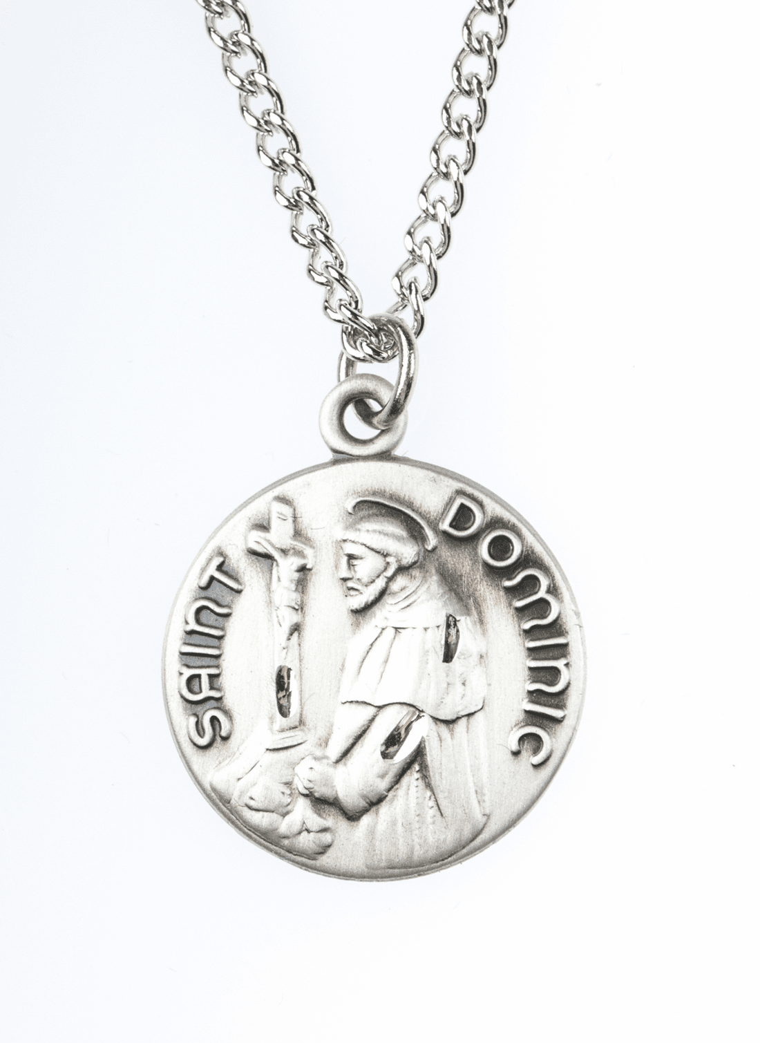 "St Dominic Saint Medal Pendant w/18"" Chain by Jeweled Cross"