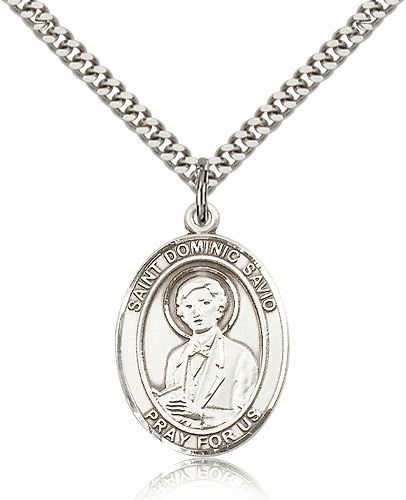 St Dominic Savio Sterling-filled Patron Saint Medal Necklace by Bliss
