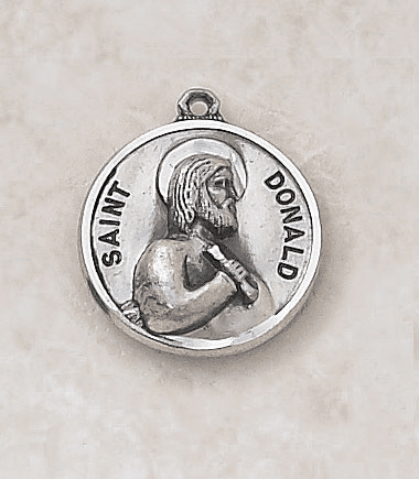 St Donald Sterling Patron Saint Medal w/Chain by Creed Jewelry