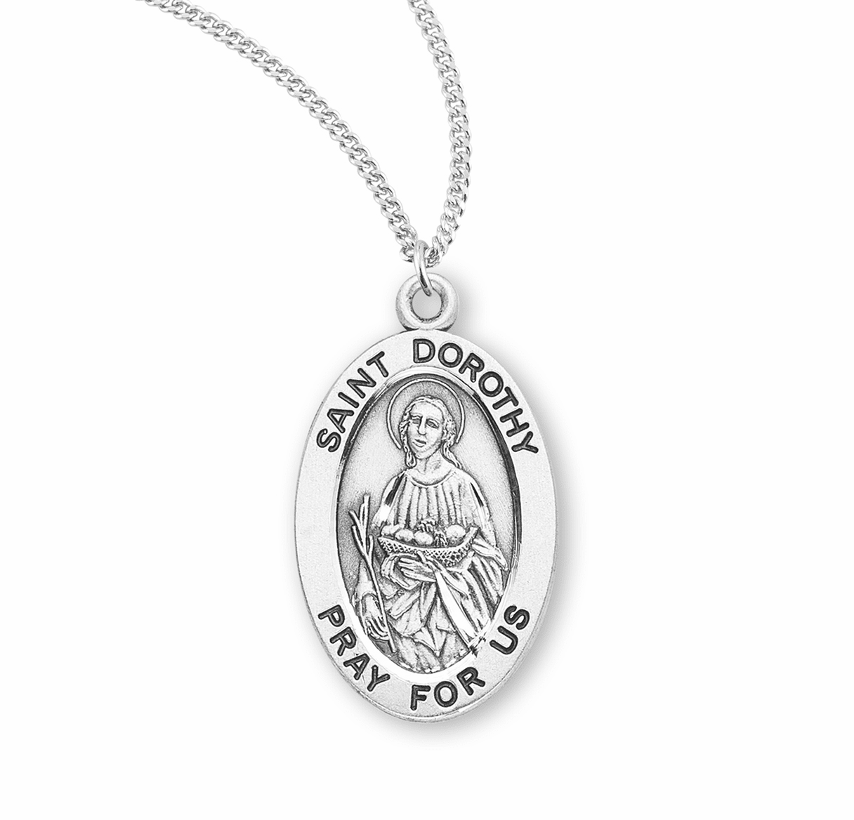 HMH Religious St Dorothy Catholic Saint Sterling Silver Medal Necklace