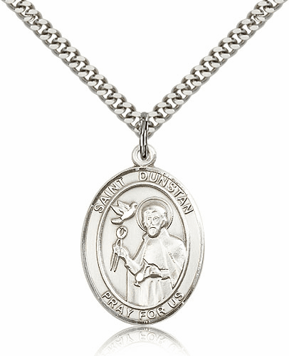 St Dunstan Patron Saint of Blacksmiths Sterling-filled Medal Necklace by Bliss Manufacturing