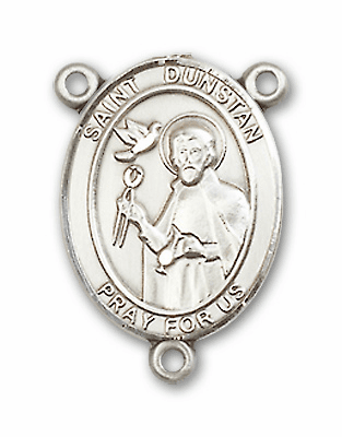 St Dunstan Patron Saint of Blacksmiths Sterling Silver Medal Rosary Center by Bliss