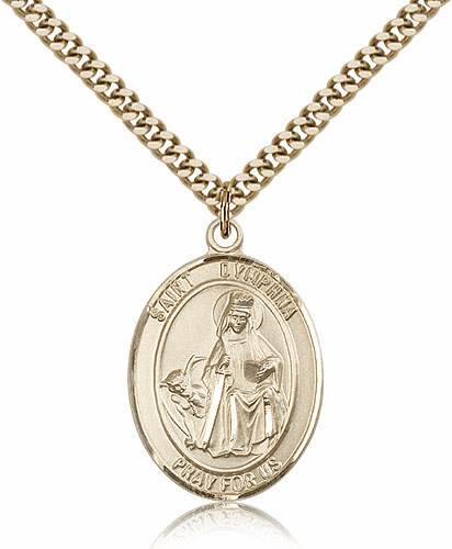 St Dymphna 14kt Gold Filled Saint Medal Necklace by Bliss