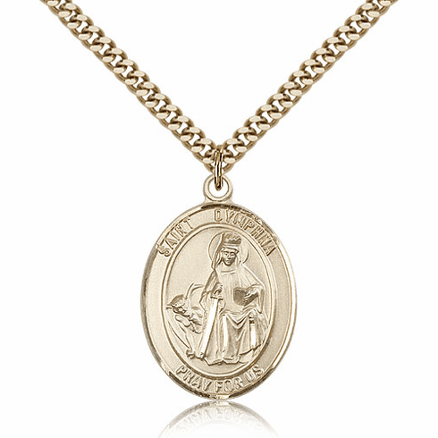 St Dymphna 14kt Gold Filled Saint Medal Necklace by Bliss Mfg