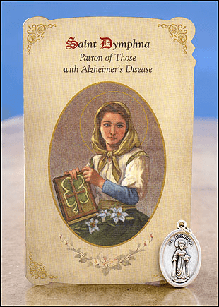 St Dymphna Alzheimer's Disease Healing Holy Cards w/Medals 6 pcs by Milagros