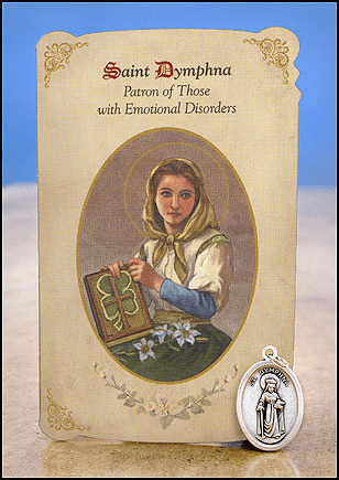 St Dymphna Emotional Disorders Healing Holy Cards w/Medals 6 pcs by Milagros