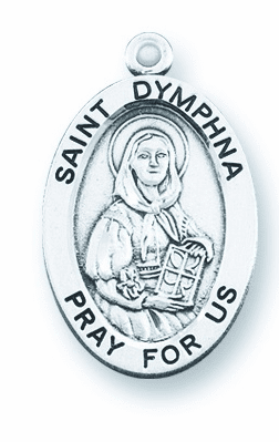 St. Dymphna Large Oval Sterling Silver Patron Saint Medals by HMH Religious