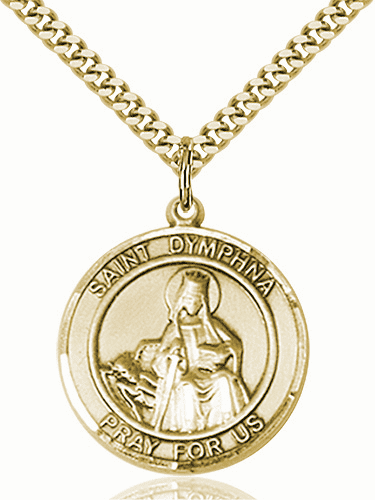 St Dymphna Large Patron Saint 14kt Gold-filled Medal by Bliss