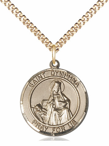 St Dymphna Large Patron Saint 14kt Gold-filled Medal Necklace by Bliss
