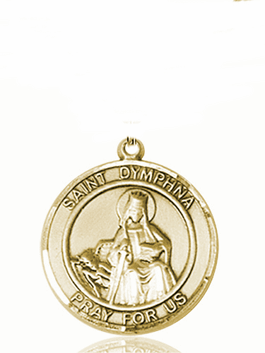 St Dymphna Large Patron Saint 14kt Gold Medal by Bliss