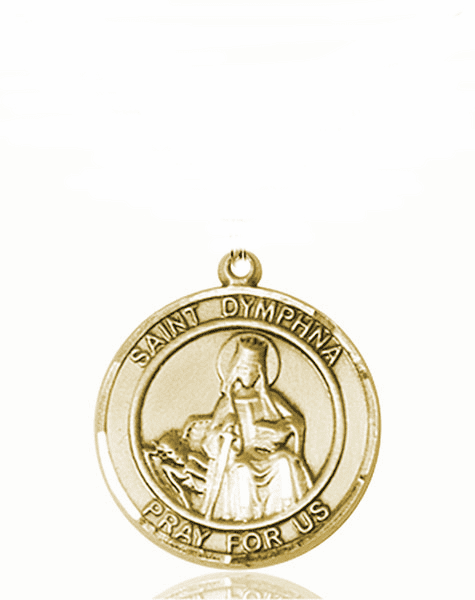 St Dymphna Medium Patron Saint 14kt Gold Medal by Bliss
