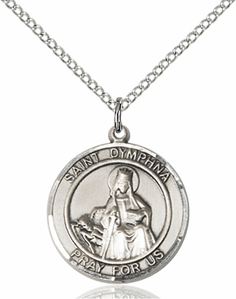 St Dymphna Medium Patron Saint Pewter Medal by Bliss