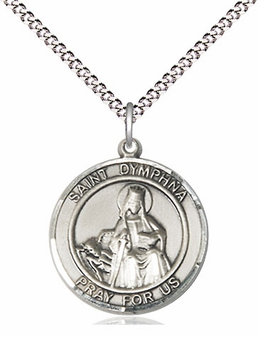 St Dymphna Medium Patron Saint Pewter Medal by Bliss Mfg