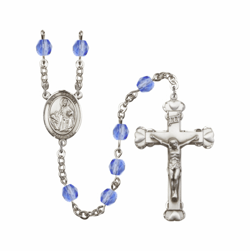 St Dymphna Saint Birthstone Fire Polished Crystal Rosary - More Colors